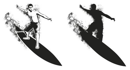 tabla de surf: grunge surfista silueta