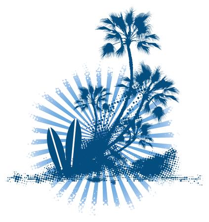 water sport: grunge surf table palm scene