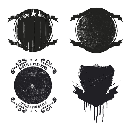 blemishes: set of grunge shields Illustration