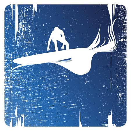 recreational pursuit: vintage surf frame Illustration