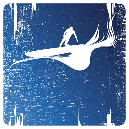 surf frame with surfer Ilustrace