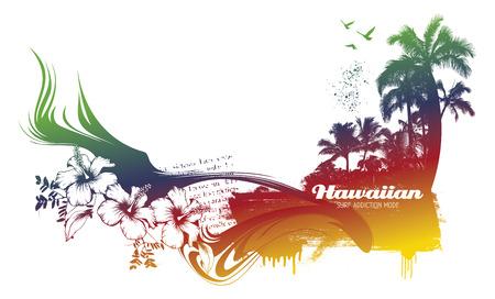 colorful hawaiian beach Ilustrace