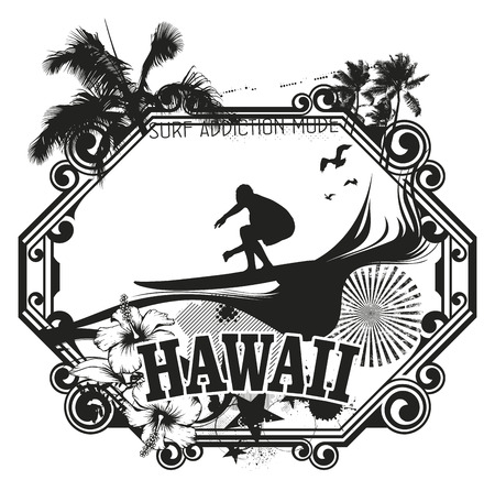vintage surf shield Ilustrace