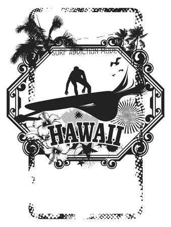 tabla de surf: escudo de surf con surfista Hawaii
