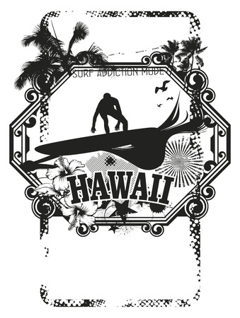 tidal wave: hawaii surf shield with surfer Illustration