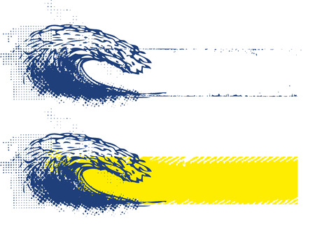 grunge banner: grunge wave with grunge banner Stock Photo