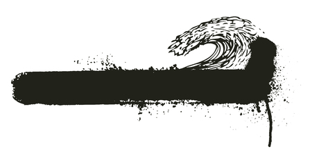 grunge banner: grunge wave with horizontal banner