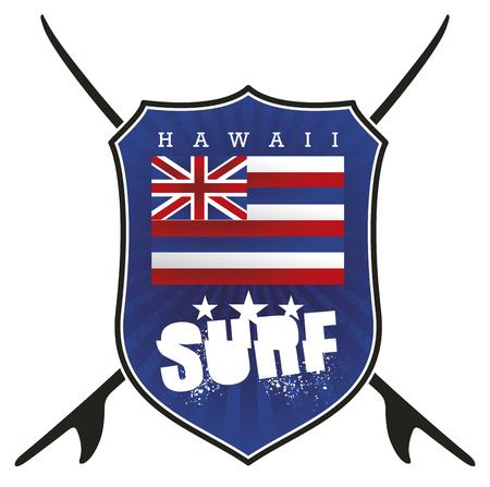 hawaii surf shield with flag