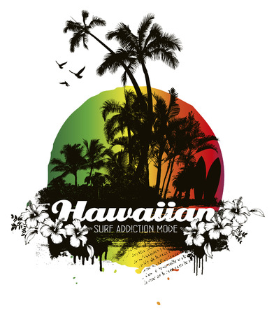 recreational pursuit: hawaiian grunge summer scene with palms and hibiscus
