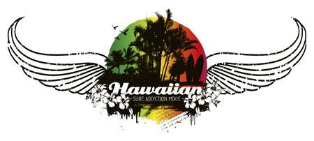tabla de surf: escena de verano grunge hawaiano con las alas Vectores