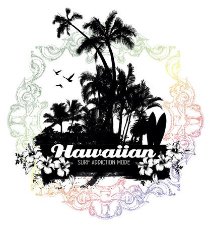 tabla de surf: escena de verano hawaiano