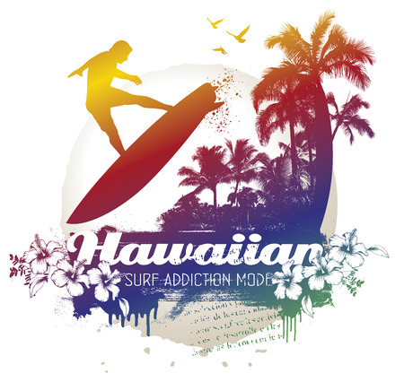 hawaiian surf addiction scene with surfer Ilustrace