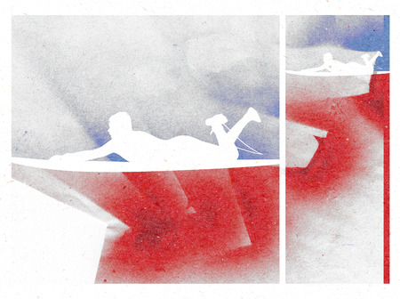 tabla de surf: increíble Cartel de la resaca con el escudo y la persona que practica surf