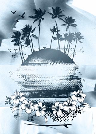 tabla de surf: belleza escena colorida del verano Foto de archivo