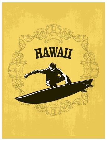 hawaiian surf banner with rider jumping Ilustrace