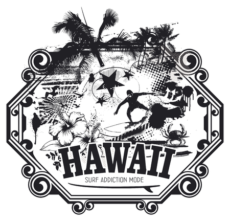 hawaiian surf grunge scene Ilustrace