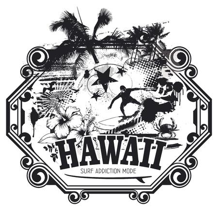 recreational pursuit: hawaiian surf grunge scene Illustration