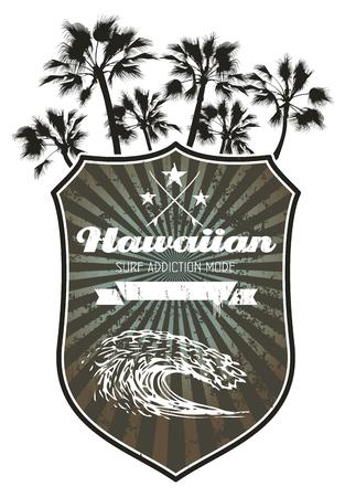 tabla de surf: hawaiian surf grunge shield with palms