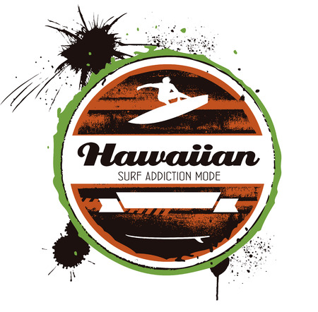 hawaiian surf grunge shield with surfer
