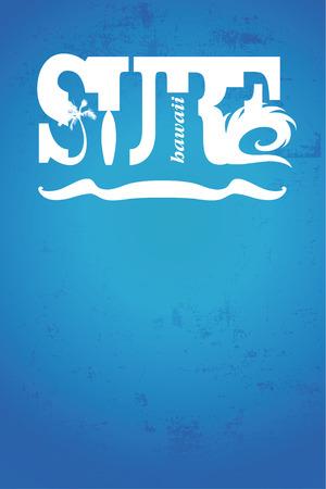 tabla de surf: Cartel de la resaca hawaiano con estilo azul de la vendimia