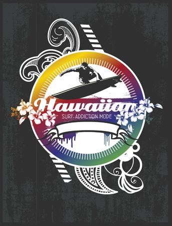 tabla de surf: escudo de surf hawaiano con el fondo del grunge