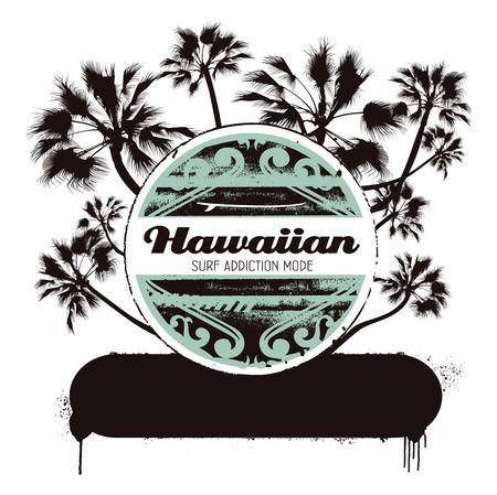 hawaiian surf shield with palms Ilustrace