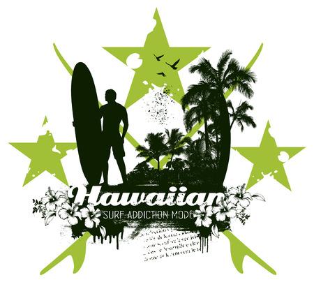 hawaiian vintage surf scene Ilustrace