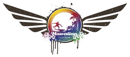 hawaiian vintage scene with wings