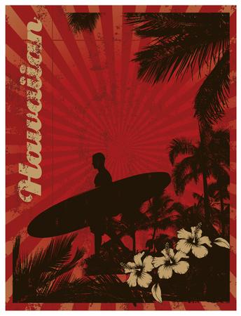 tabla de surf: fondo hawaiano resaca del vintage Vectores