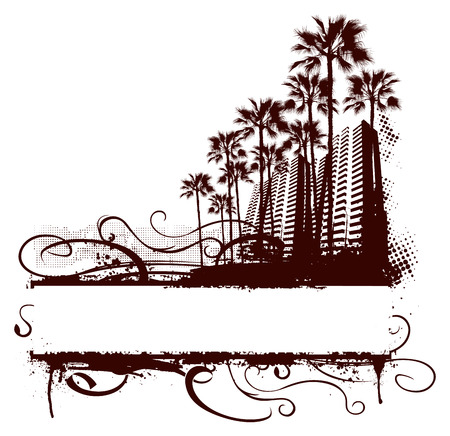 mimi surf scene with grunge banner and palm background Ilustrace