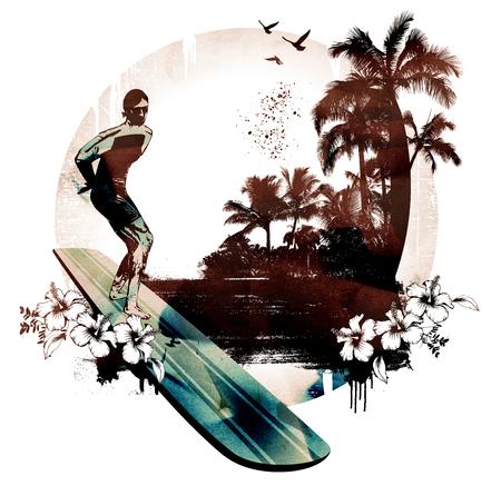 ハワイアン ・ サーフ ライダーと背景 写真素材