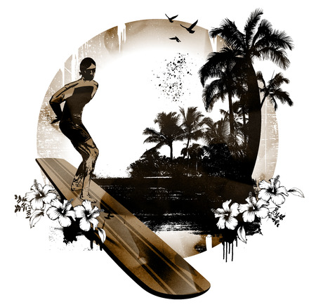 hawaiian surf background with rider and longboard