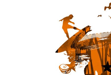grunge vintage orange surf scene with surfer jumping and copyspace