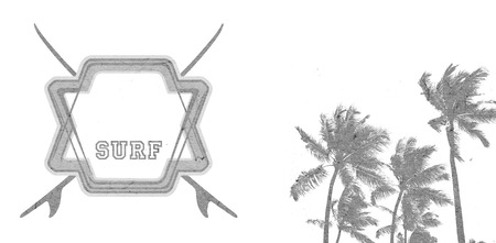 grunge and vintage surf banner with shield palms and copy_space