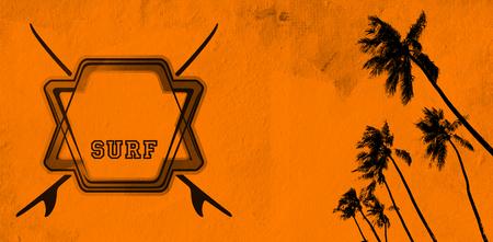 tabla de surf: grunge y de la vendimia del verano bandera naranja con espacio de copia