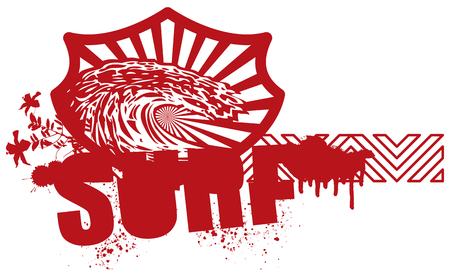 red surf banner with wave and hibiscus