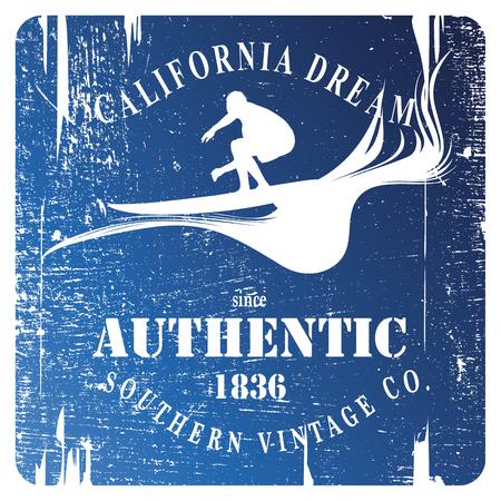 tabla de surf: escudo azul de la plantilla de surf con surfista