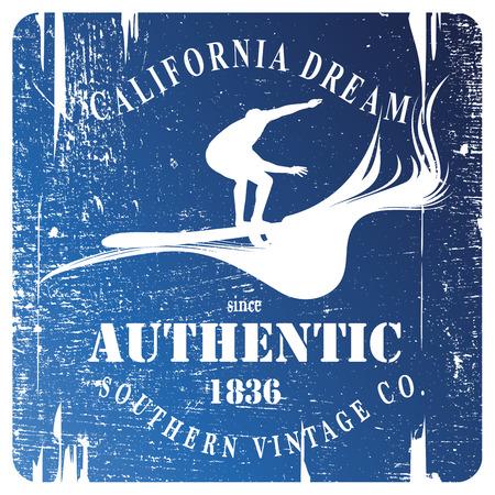 blue vintage grunge surf shield with rider