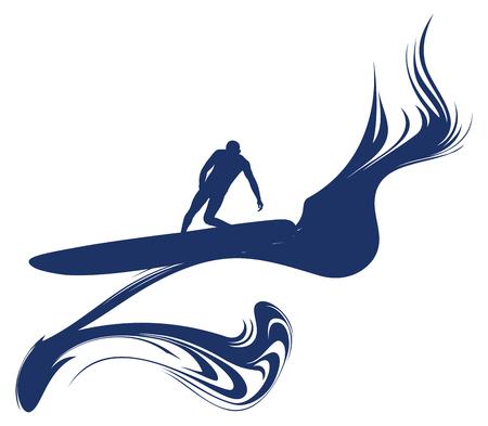 surf rider doing wave sliding Ilustrace