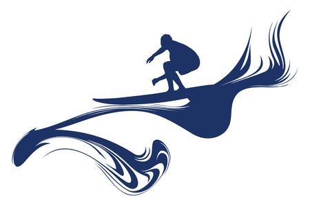 tabla de surf: surfista cresta de la ola Vectores