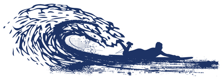 tidal wave: surfer riding pipeline wave Illustration