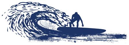 tabla de surf: ola surfista montar tuberías Vectores