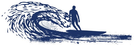 surfer riding pipeline wave Ilustrace