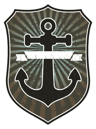 anchor with shield and banner