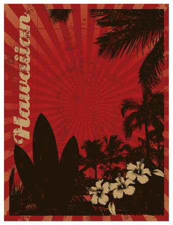 red surf poster with palms and tables