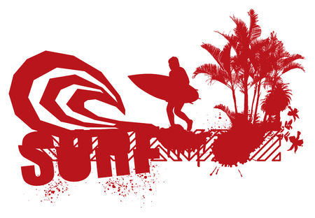 Red surfer with big wave and palms. Ilustrace