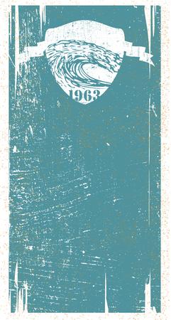 Grunge surf banner with shield