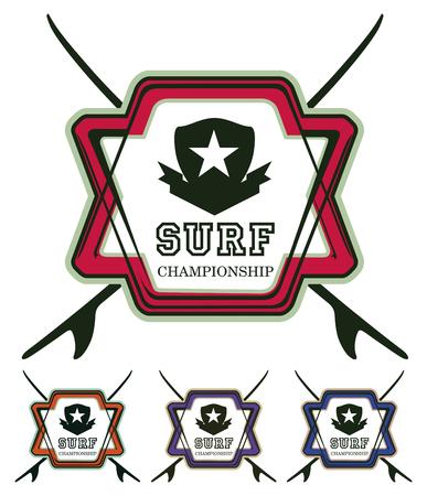 set of beauty surf grunge shield with tables Reklamní fotografie - 73106390