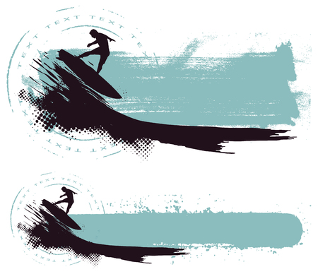 riding wave with grunge horizontal banner Ilustrace