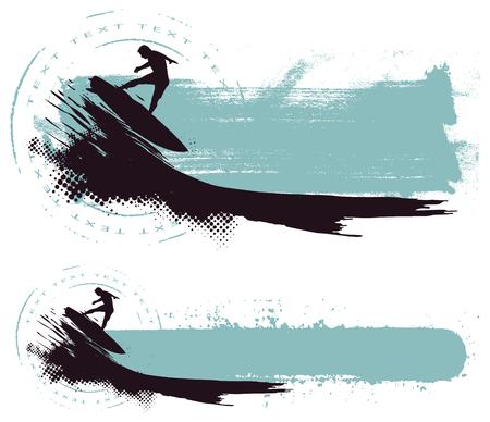 Reiten Welle mit Grunge horizontale Banner